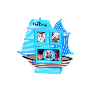 red ship photo frame clock 2 pictures