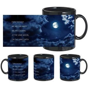 romantic moon earth black mug