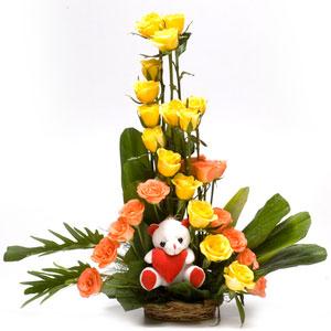roses with teddy basket my teddy bear