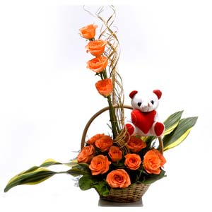 roses with teddy basket scent with love midnight
