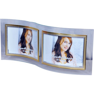 s shaped glass photo frame 2 pictures 4x6