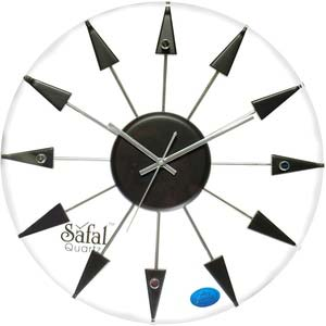 safal back and white round wall clock 1011