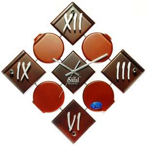 safal black and brown diamond wall clock 1010