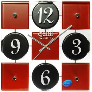 safal black and brown square wall clock 1009