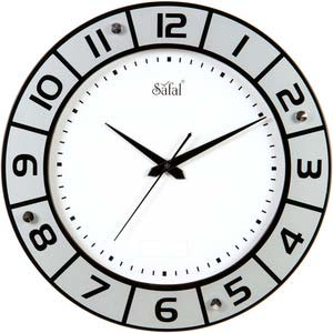 safal black and white wall clock 1085