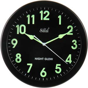 safal black glow in dark wall clock 101