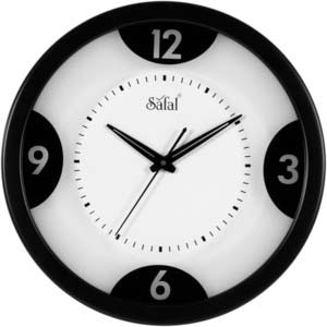 safal black round wall clock 1069