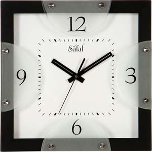 safal black square wall clock 1066