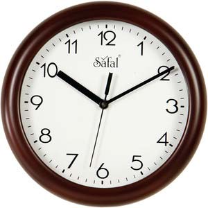 safal brown round wall clock 1074