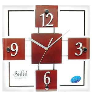 safal brown square wall clock 1001