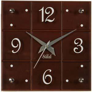 safal brown square wall clock 3439