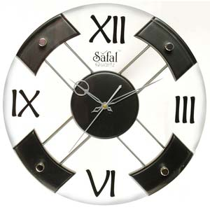 safal round roman numericals wall clock black and white 1007