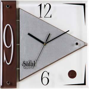 safal square contemporary brown wall clock 1026