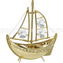 sailing ship big gold plated with swarovski crystals