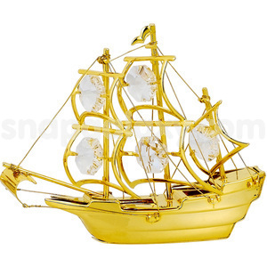 sailing ship gold plated with swarovski crystals