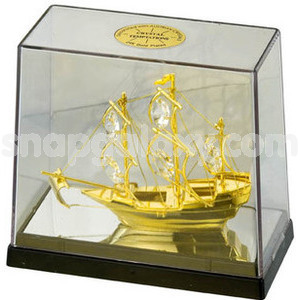 sailing ship in cabinet gold plated with swarovski crystals