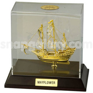 sailing ship mayflower in cabinet gold plated with swarovski crystals