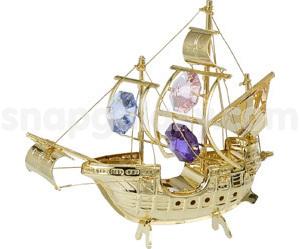 sailing ship santa maria gold plated with swarovski crystals