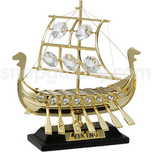 sailing ship viking gold plated with swarovski crystals