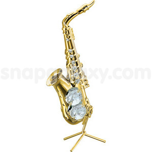 saxophone gold plated with swarovski crystals