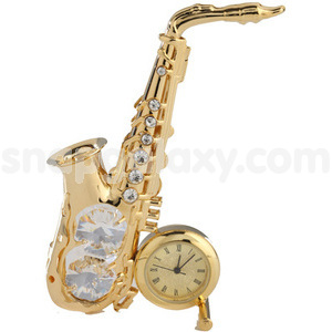 saxophone with clock gold plated with swarovski crystals