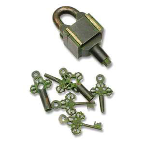 sercet padlock with six key in brass gift