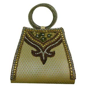 sg designer beadwork cream color clutch