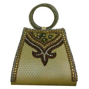 sg designer beadwork cream color clutch