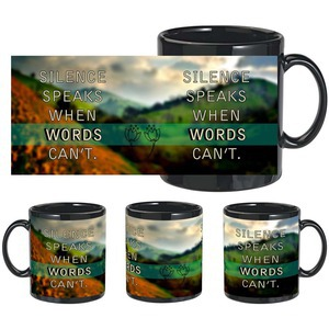 silence words black mug