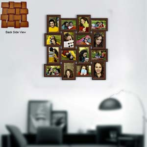 sixteen photo tiled frame brown