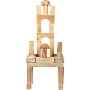 skillofun building blocks 60 pieces natural wood finish