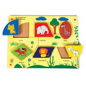 skillofun fun geo shape tray wild animals raised