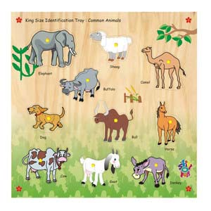 skillofun king size identification tray common animals