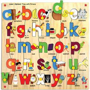skillofun lower alphabet tray with picture with knobs
