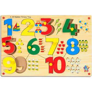 skillofun number with picture tray 1 10 with knobs