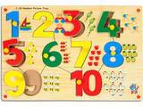 Skillofun Number With Picture Tray (1-10) (With Knobs)