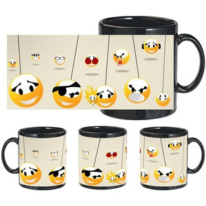 smiley faces black mug