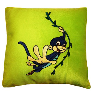 stuffed cushion chotta bheem jaggu bandar green