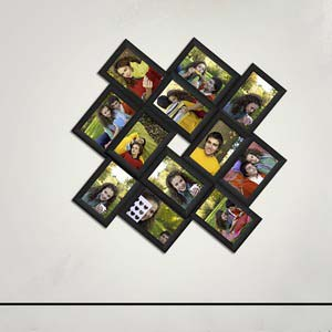 stylish tweleve picture collage frame black 4x6