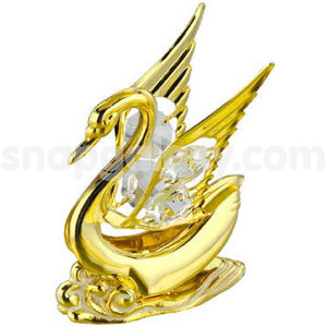 swan big gold plated with swarovski crystals