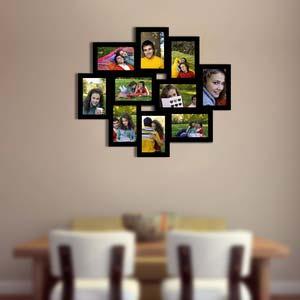 ten photo collage frame black 4x6