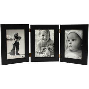 three folding picture frames  5x7 black collage frame