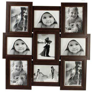tile pattern nine picture frames brown collage frame 4x6