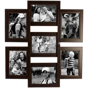 tile pattern seven picture frames brown collage frame