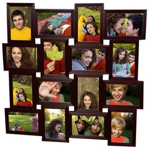 tile pattern sixteen picture frames brown collage frame