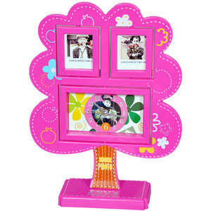 tree photo frame clock pink 2 pictures