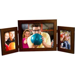 triple folding 8x10 4x6 brown frame desktop