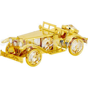 vintage car gold plated with swarovski crystals