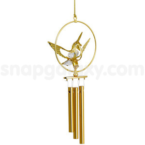 wind chime humming bird small gold plated with swarovski crystals
