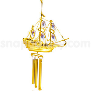 windchime sailing boat gold plated with swarovski crystals
